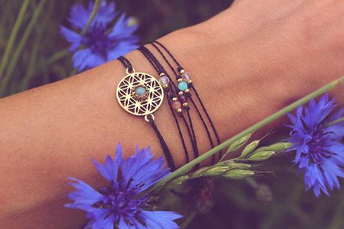 Blume des Lebens - Armband mit Stein