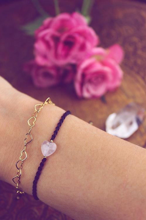 Gliederarmband + geknüpftes Armband mit Rosenquarz