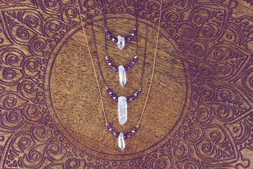 Alo - Bergkristall - Kette mit Amethyst