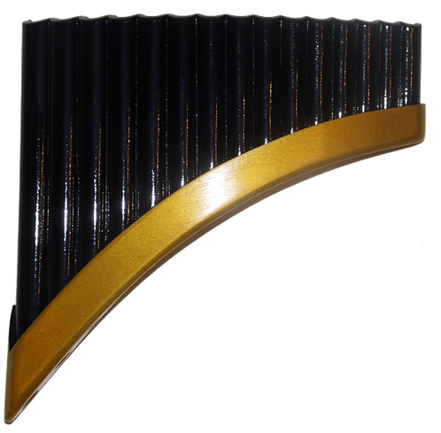 Professional 15 Pipes Black & Gold Pan Flute | Yzarra