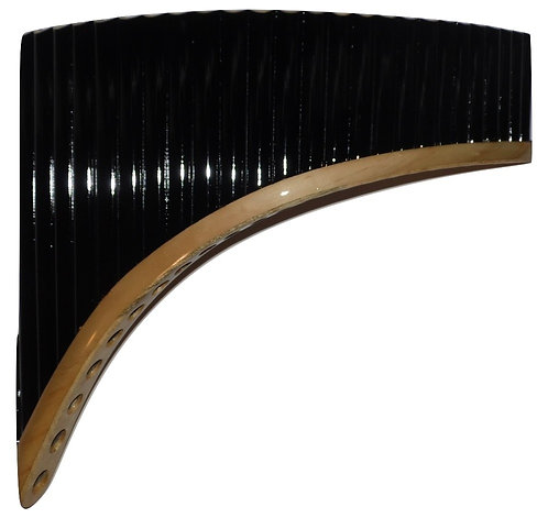 Professional 24 Pipes Black &  Gold Pan Flute - Yzarra