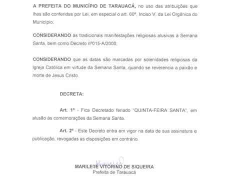 PREFEITA MARILETE DECRETA FERIADO MUNICIPAL NO DIA 18 DE ABRIL, QUINTA-FEIRA SANTA