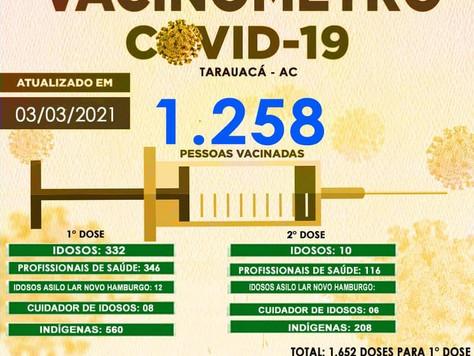 Tarauacá: 1.258 pessoas já foram vacinadas contra Covid-19 no município