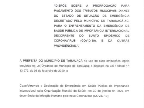 Prefeitura de Tarauacá prorroga prazo para Pagamento do IPTU, Alvarás e taxas municipais por 90 dias