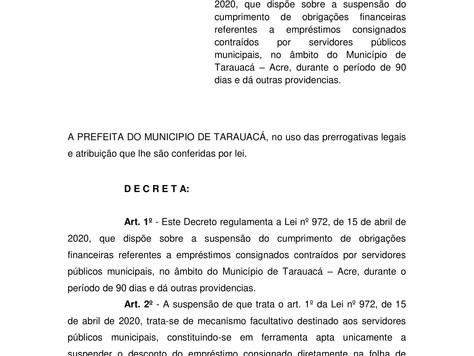Nota sobre suspensão dos consignados de Tarauacá
