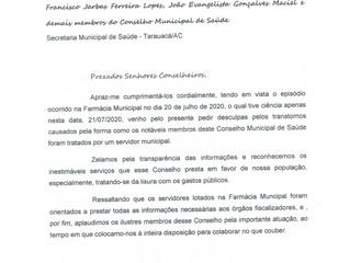 Prefeitura de Tarauacá envia ofício para o Conselho Municipal de Saúde