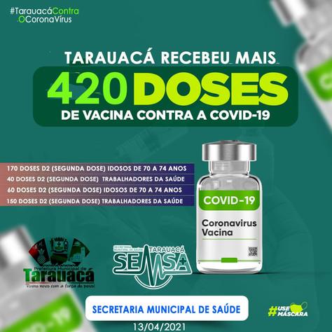 Tarauacá recebe lote de vacinas anticovid para segunda dose