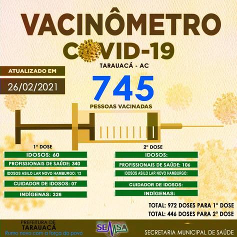 Tarauacá: 745 pessoas já foram vacinadas contra Covid-19 no município