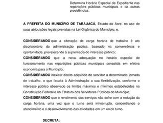 Prefeitura publica decreto sobre expediente em Tarauacá