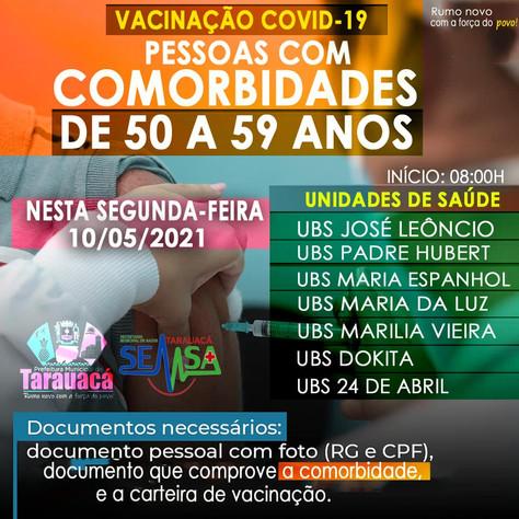 Tarauacá inicia dia 10 vacinação de pessoas de 50 a 59 anos com comorbidades
