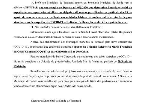 Nota informativa sobre os atendimentos nas Unidades Básicas de Saúde de Tarauacá