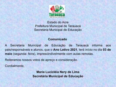Aulas online para alunos da rede municipal serão iniciadas na segunda-feira (3), em Tarauacá