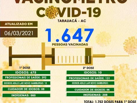 Tarauacá: 1.647 pessoas já foram vacinadas contra Covid-19 no município