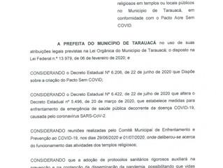 Prefeitura de Tarauacá publica decreto para reabertura de igrejas