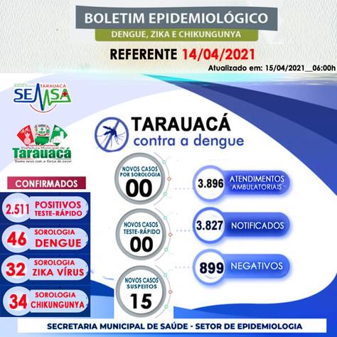 Boletim Epidemiológico de Monitoramento dos casos de Dengue (14/04)