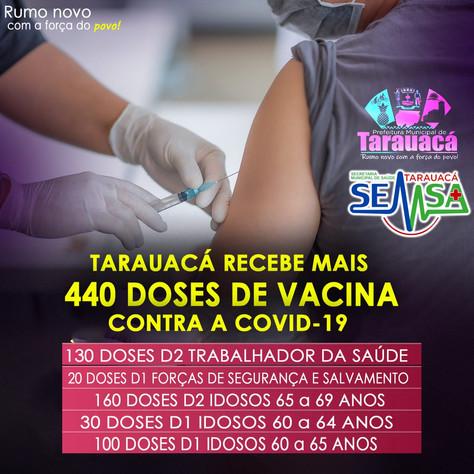 Município recebe mais 440 doses da Vacina contra a Covid 19