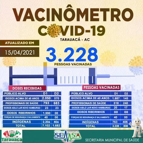 Tarauacá: 3.228 pessoas já foram vacinadas contra Covid-19 no município