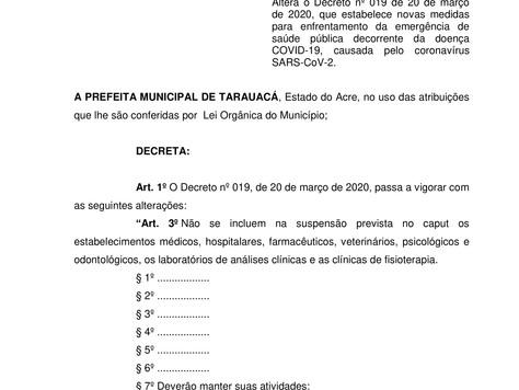 Prefeitura edita novo Decreto sobre atividades comerciais em Tarauacá
