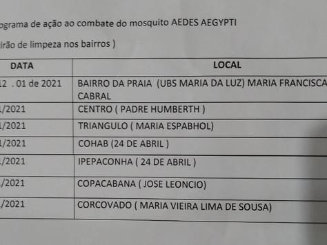 Confira o cronograma semanal das ações de combate à dengue em Tarauacá