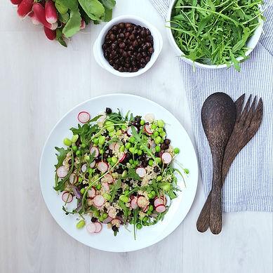 Salade végétarienne edamame radis pois chiches