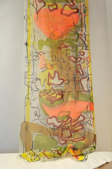 Pen strokes way Silk scarf