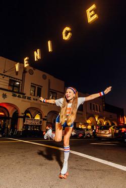 Stylish photoshoot with sign Venice