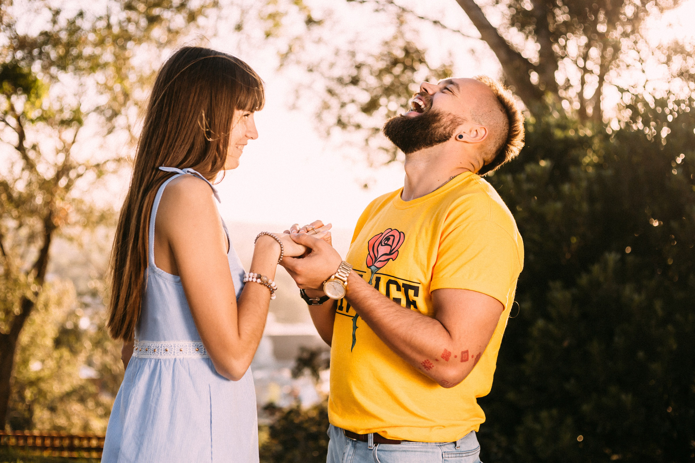 Romantic photo shoot as a guy makes a pr