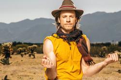 Stylish male portrait in the desert