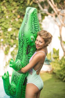Photoshoot with inflatable crocodile
