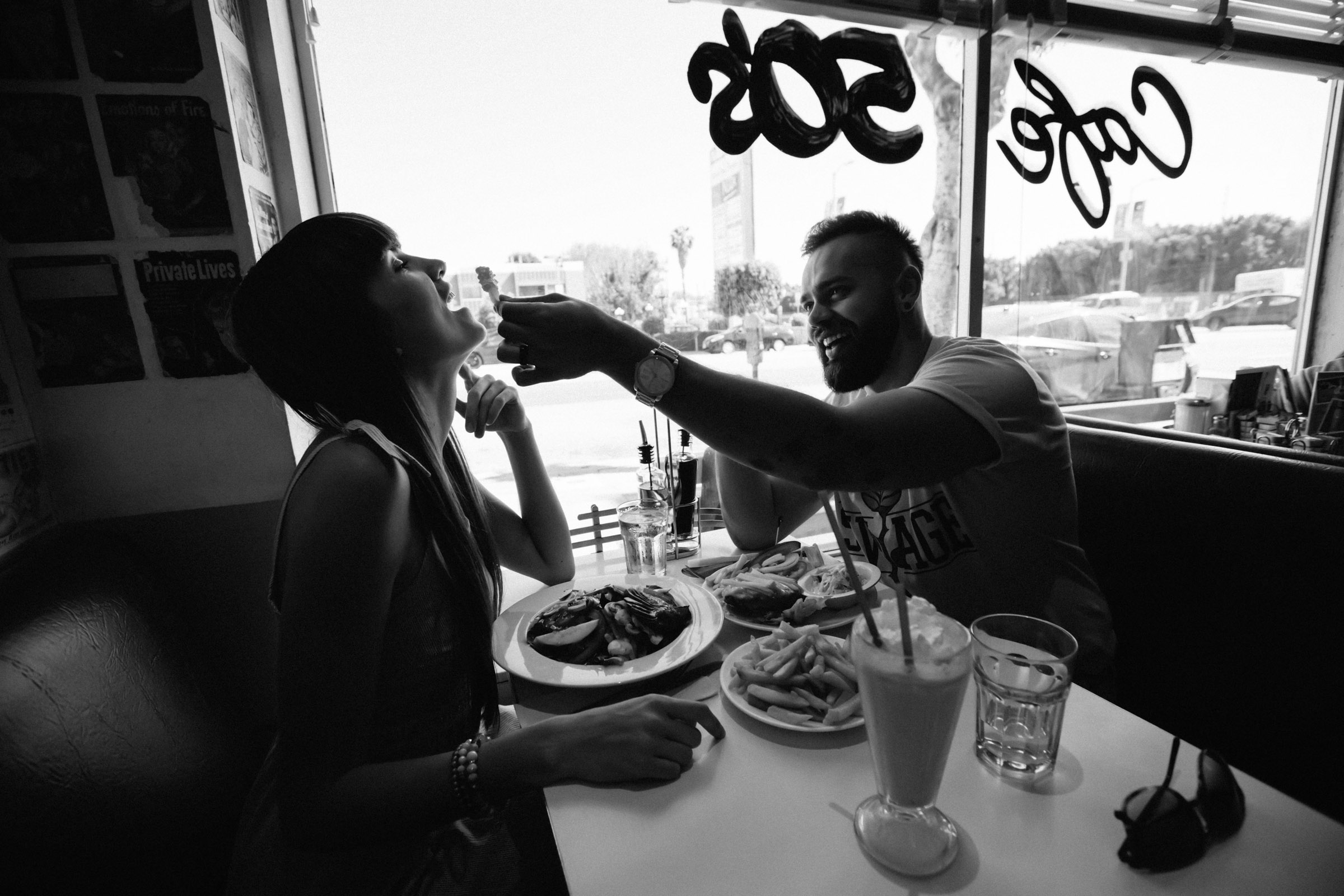 Funny shot of engagement in a cafe, phot