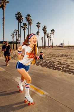 Roller girl with lollipop&Coca-Cola