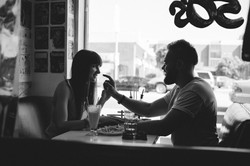 Engagement session in retro cafe _ Profe