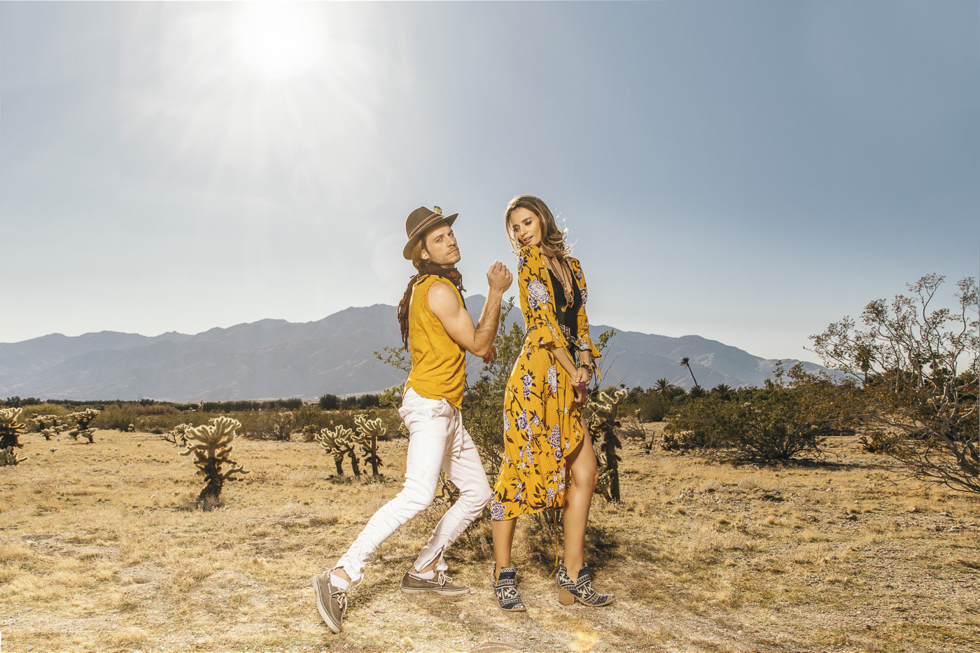 Stylish photo shoot in the desert