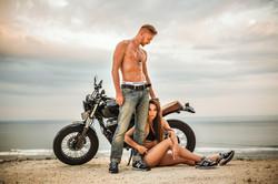 Stylish photo shoot with motorcycle