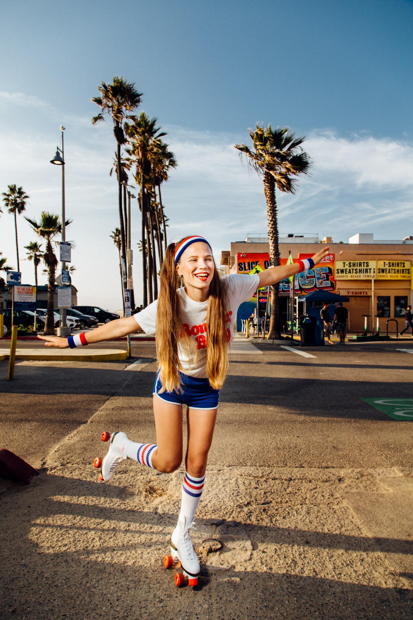 Girl on roller skates on Venice