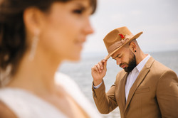 Stylish shooting of the bride and groom