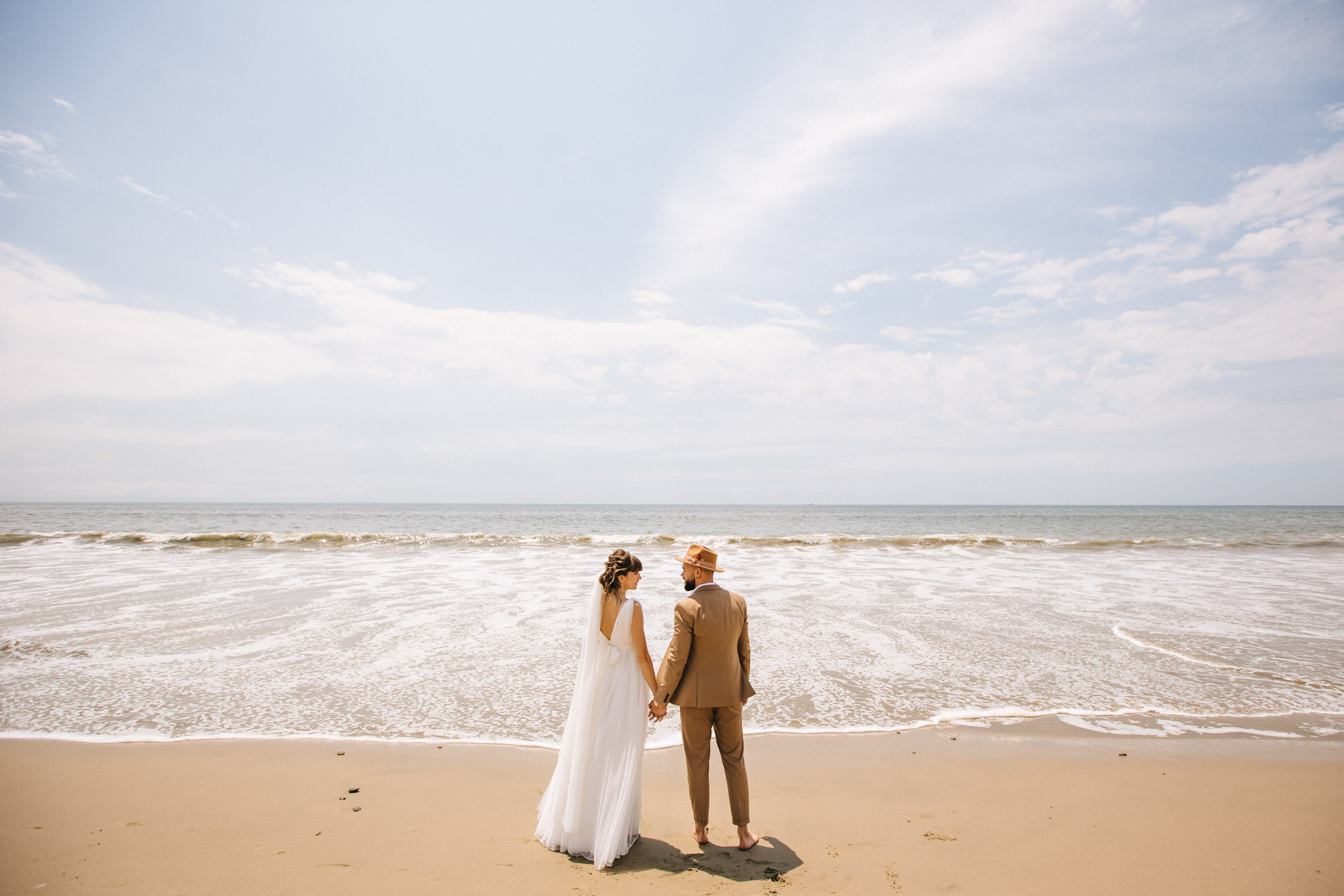 Romantic wedding photo of the bride and