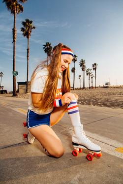 photoshoot girl pulls up socks