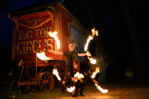 Fire Dancing by Circus Wagon