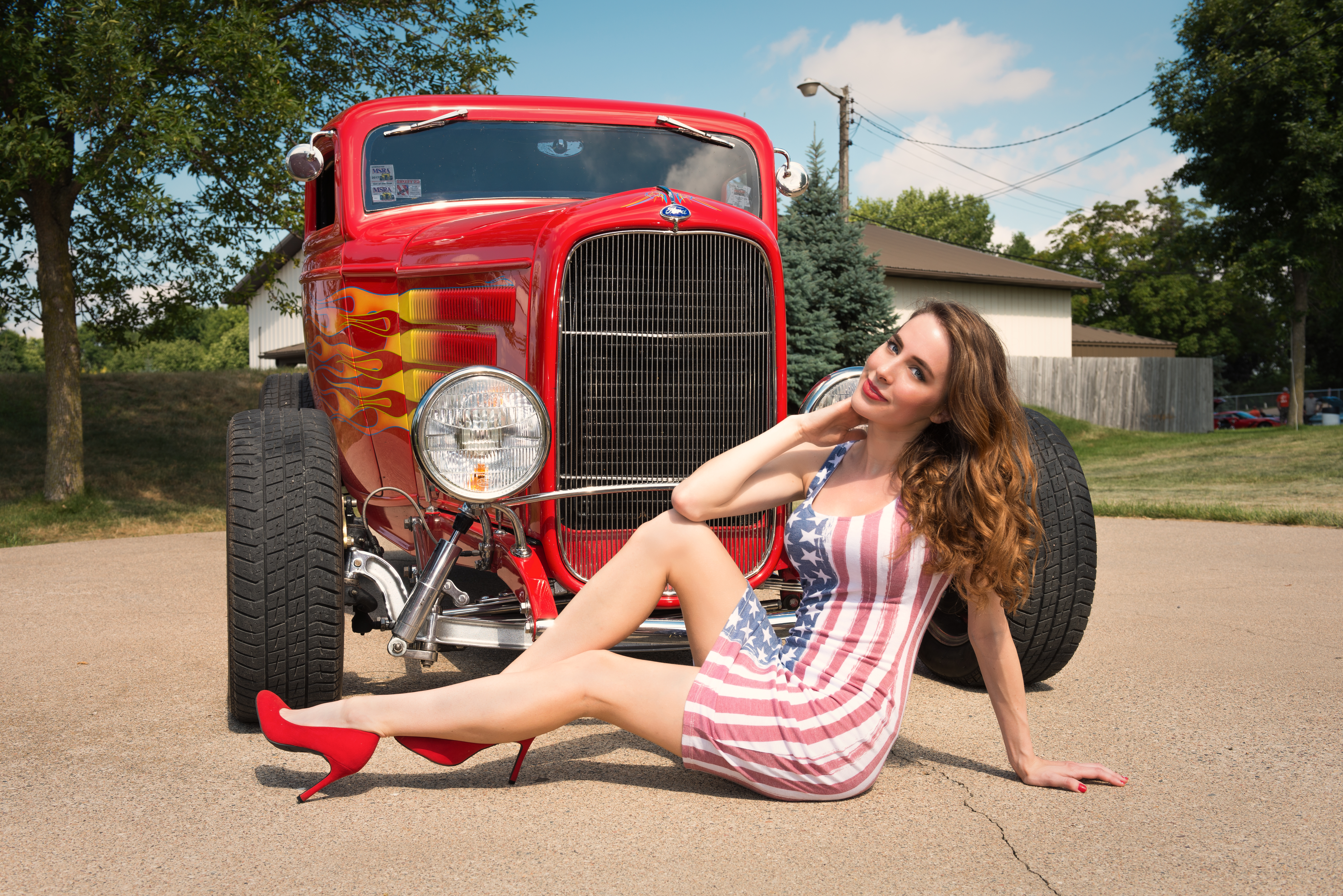 Analise in Front of Ford Street Rod