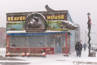 Snowfall in Grand Marais