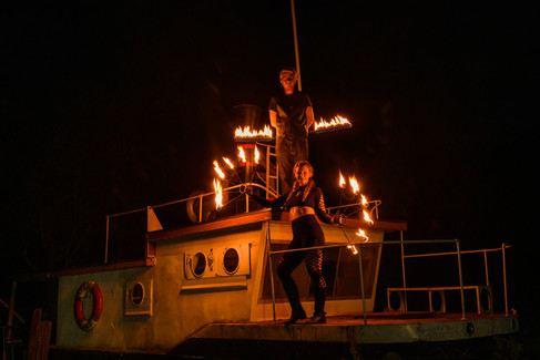 Ship with Fire Dancers