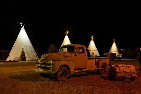 Wigwams at the Wigwam Motel.
