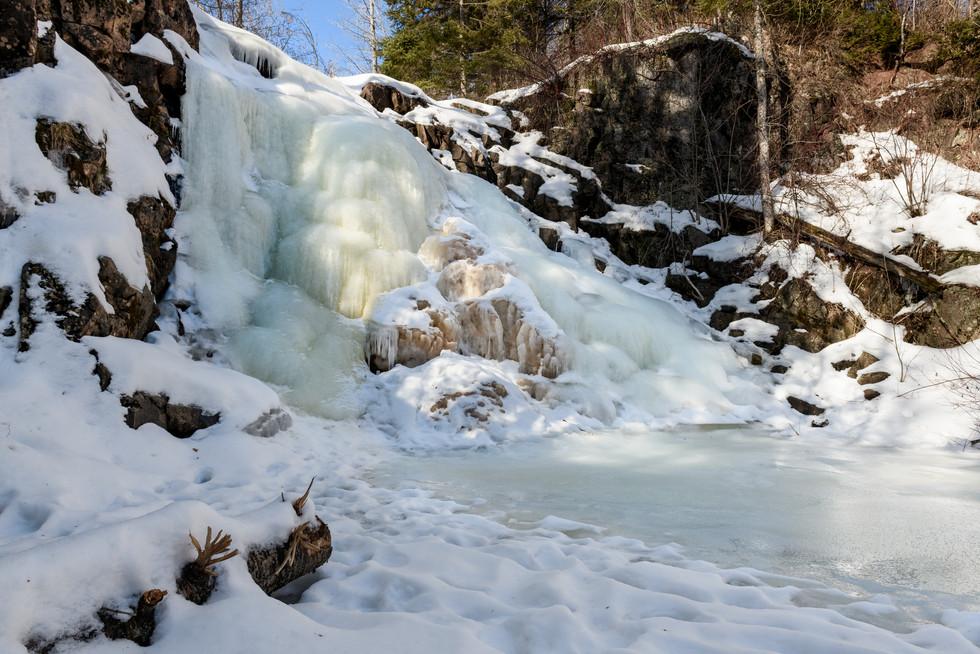 Side View of Frozen Waterfall