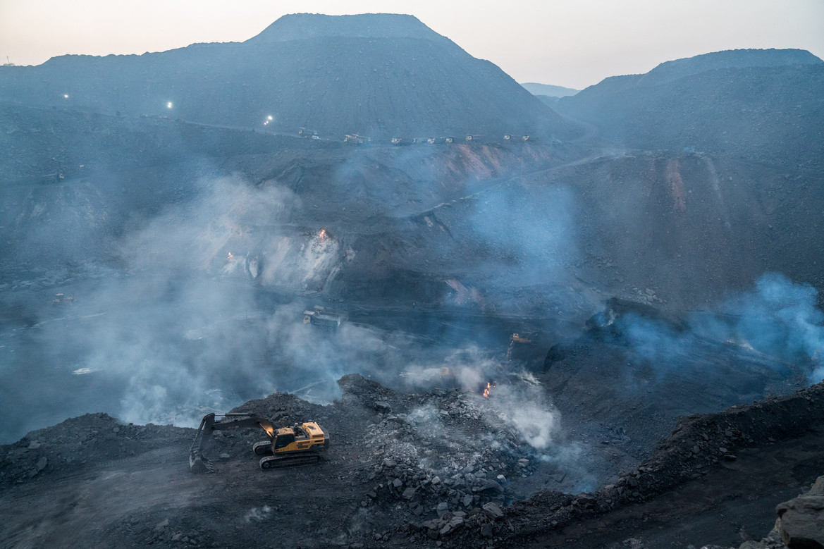 Smoke Rises Inside the Coal Mines