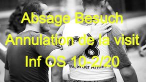 Absage Besuch OS 10-2/2020 / Annulation de la visit