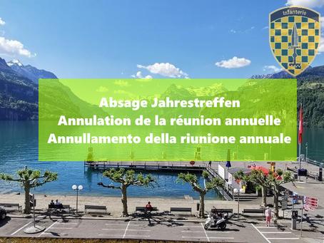 Absage Jahrestreffen / Annulation de la réunion annuelle