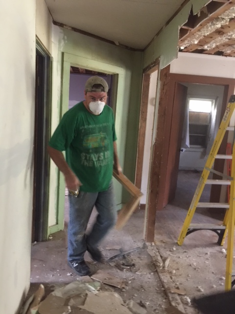 10-23-17 Chris working on wall