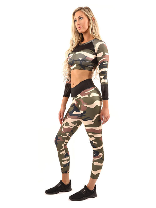 Camouflage Leggings and Midriff Top - Camouflage