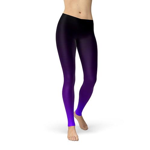Lycra Avery Black Purple Ombre Leggings